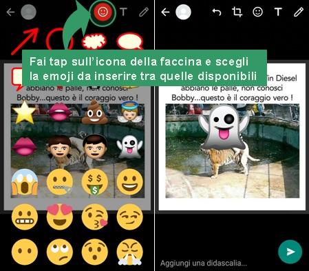 aggiungere emoji su foto whatsapp