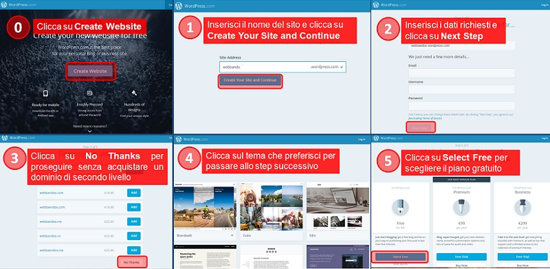 Come creare blog o sito web con wordpress for Crea il tuo sito web personale