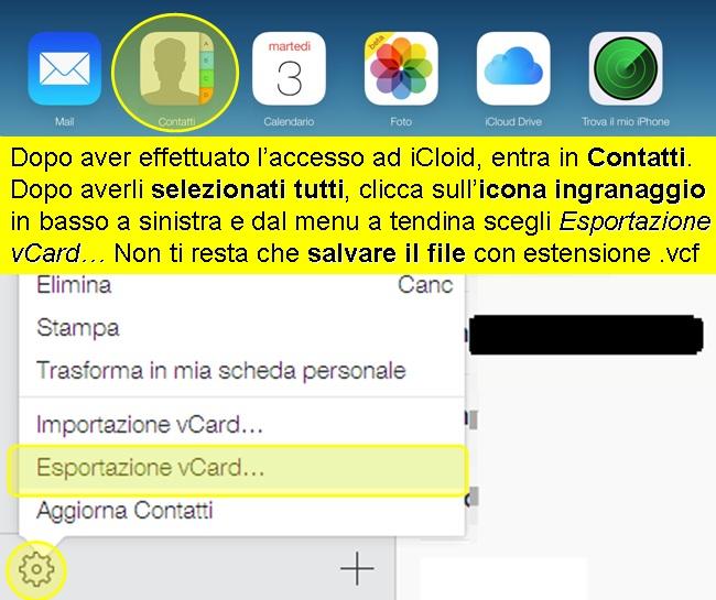 esporta contatti iphone icloud vcard
