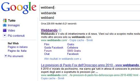 Disattivare Google Instant Search