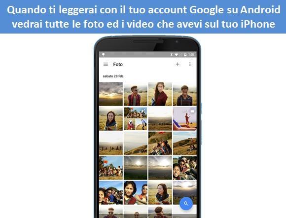 importare foto da iphone ad android con google foto