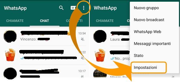 impostazioni whatsapp android
