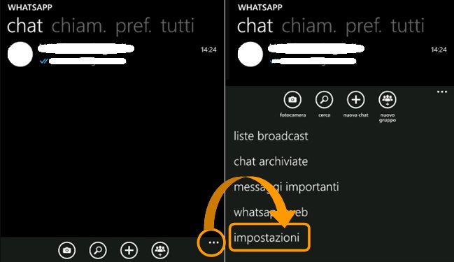impostazioni whatsapp windows phone