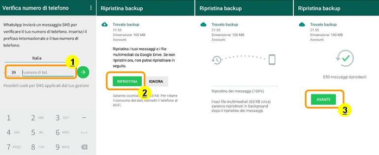 ripristino backup whatsapp con google drive