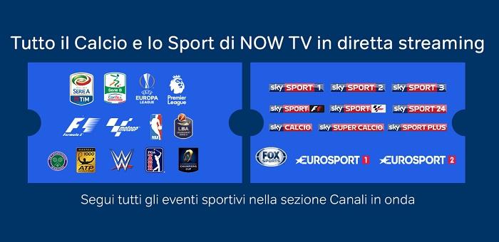 vedere partite calcio streaming sky nowtv